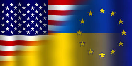 Waving Ukraine, EU and USA Flag photo
