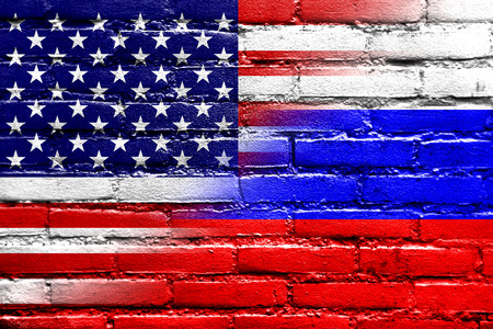allied: USA and Russia Flag painted on brick wall