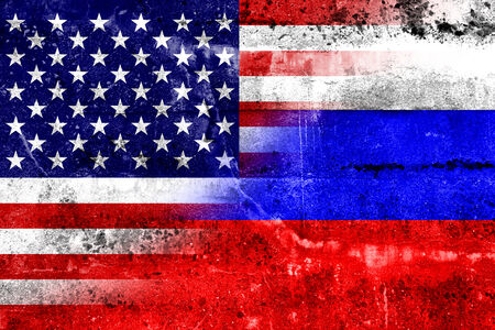 allied: USA and Russia Flag painted on grunge wall
