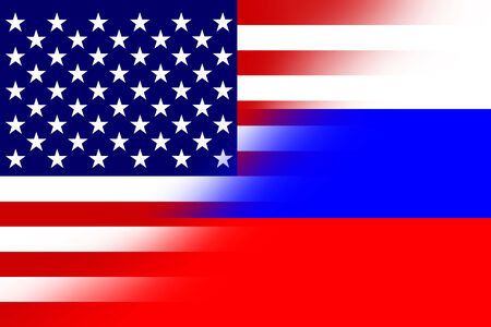 USA and Russia Flag photo