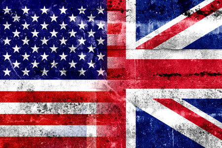 USA and UK Flag painted on grunge wall photo