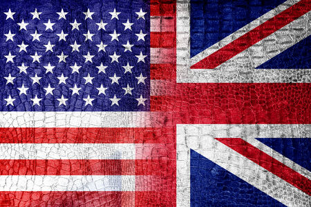 USA and UK Flag painted on luxury crocodile texture photo