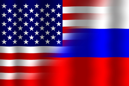 Waving USA and Russia Flag photo