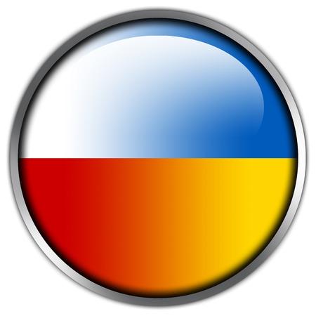 Poland and Ukraine Flag glossy button photo