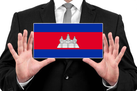 cambodian: Businessman holding a business card with Cambodia Flag
