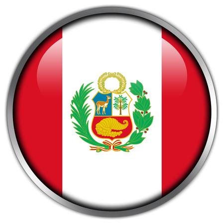 Peru Flag glossy button Stock Photo