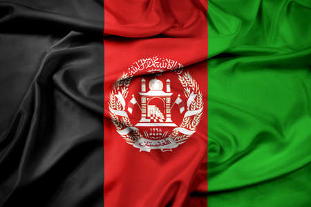 afghanistan flag: Waving Afghanistan Flag Stock Photo