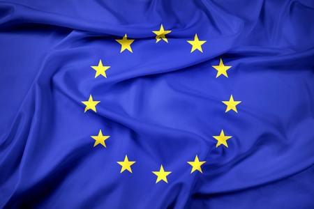Waving EU Flag Stock Photo