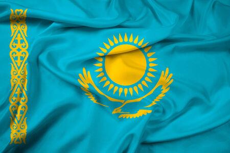 kazakhstan: Waving Kazakhstan Flag
