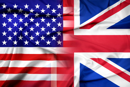 drapeau angleterre: Waving Flag Etats-Unis et au Royaume-Uni Banque d'images