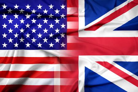 england flag: Waving USA and UK Flag