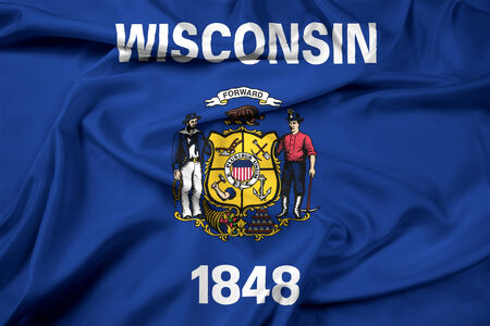 wisconsin flag: Waving Wisconsin State Flag