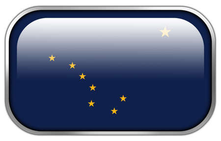 united stated: Alaska State Flag rectangle glossy button