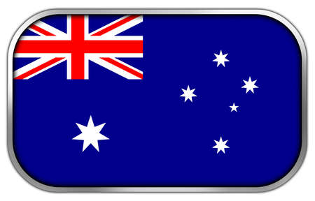 sidney: Australia Flag rectangle glossy button Stock Photo