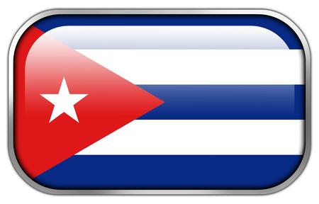 bandera cuba: Bandera de Cuba rect�ngulo bot�n brillante
