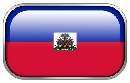 rectangle button: Haiti Flag rectangle glossy button Stock Photo