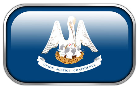 louisiana flag: Louisiana State Flag rectangle glossy button