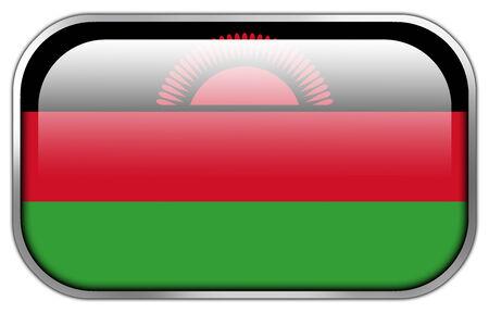 malawi: Malawi Flag rectangle glossy button