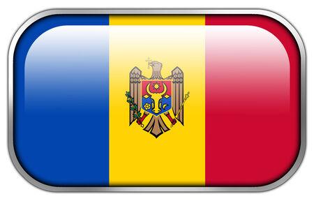 Moldova Flag rectangle glossy button Stock Photo