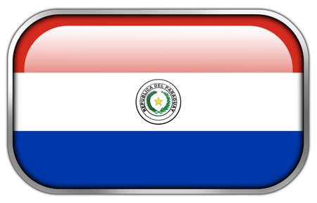 bandera de paraguay: Bot�n brillante del rect�ngulo de la bandera de Paraguay