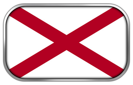 alabama state: Alabama State Flag rectangle glossy button Stock Photo