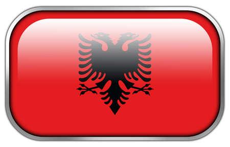 rectangle button: Albania Flag rectangle glossy button