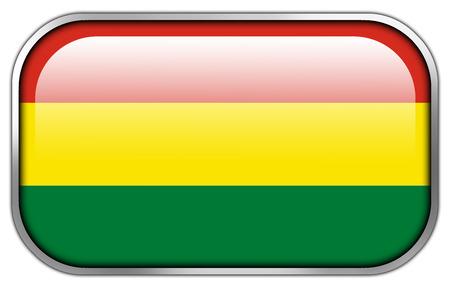 bandera de bolivia: Bolivia Flag rect�ngulo bot�n brillante