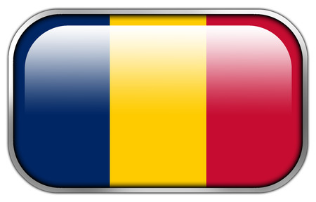 chad: Chad Flag rectangle glossy button