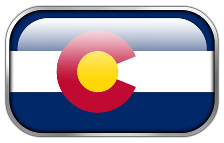 flag of colorado: Colorado State Flag rectangle glossy button