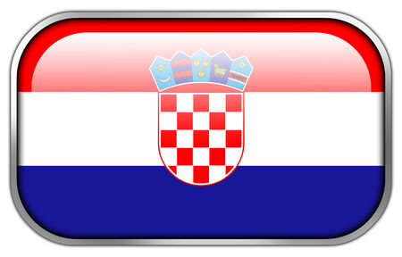 flag croatia: Bandera de Croacia rect�ngulo bot�n brillante