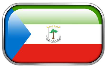 equatorial: Equatorial Guinea Flag rectangle glossy button