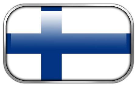 finland flag: Finland Flag rectangle glossy button