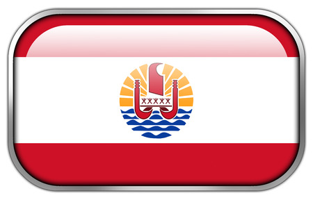 French Polynesia Flag rectangle glossy button