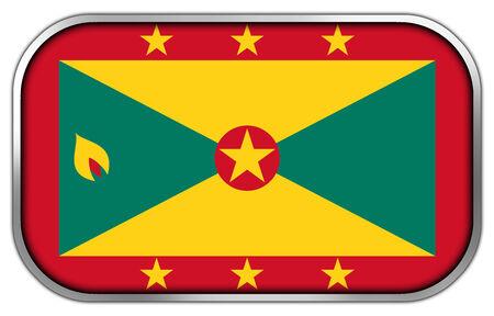 rectangle button: Grenada Flag rectangle glossy button Stock Photo