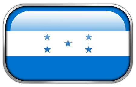 bandera honduras: Bandera de Honduras rect�ngulo bot�n brillante Foto de archivo