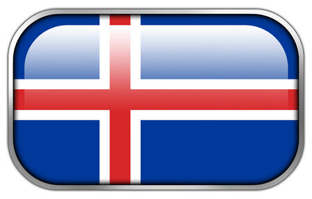 iceland flag: Iceland Flag rectangle glossy button