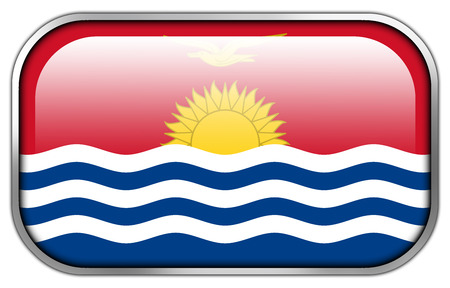 kiribati: Kiribati Flag rectangle glossy button Stock Photo