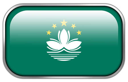 macau: Macau Flag rectangle glossy button