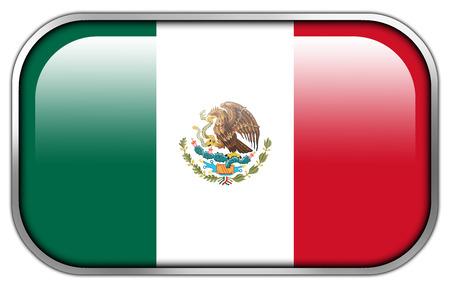 mexico flag: Mexico Flag rectangle glossy button