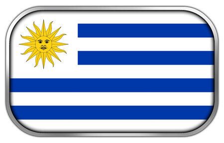 bandera de uruguay: Bandera de Uruguay rect�ngulo bot�n brillante