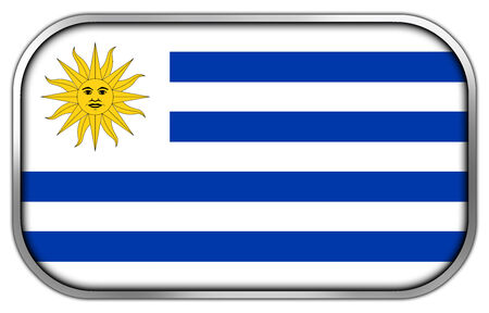uruguay flag: Uruguay Flag rectangle glossy button
