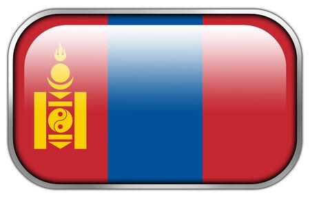 rectangle button: Mongolia Flag rectangle glossy button Stock Photo
