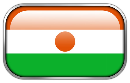 rectangle button: Niger Flag rectangle glossy button