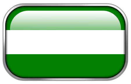 Rotterdam City Flag rectangle glossy button Stock Photo