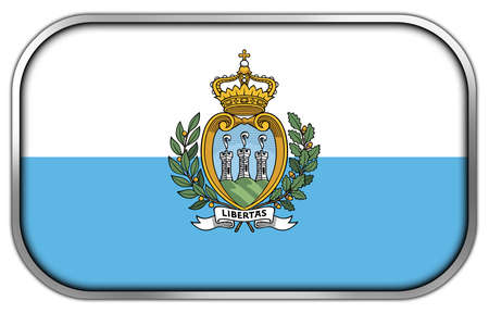 sammarinese: San Marino Bandiera rettangolo lucido pulsante Archivio Fotografico