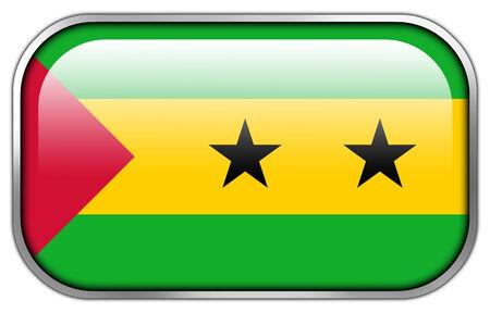 tomo: Sao Tome e Principe bandiera rettangolo pulsante lucido Archivio Fotografico