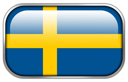 rectangle button: Sweden Flag rectangle glossy button