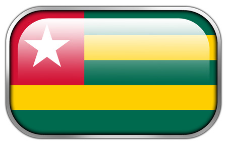 rectangle button: Togo Flag rectangle glossy button