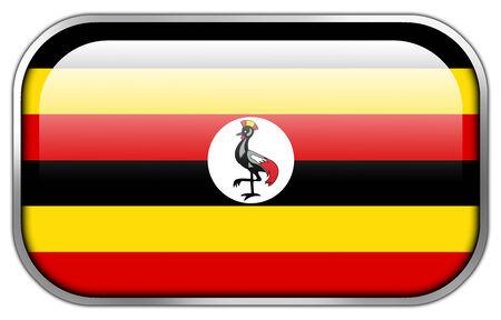 uganda: Uganda Flag rectangle glossy button