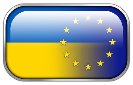 unification: Ukraine and EU Flag rectangle glossy button Stock Photo